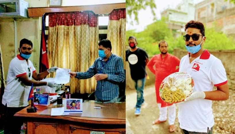 नेबिसंघद्वारा जिल्ला प्रशासन कार्यालय पर्सा मार्फत प्रधानमन्त्रीलाई बेसार अदुवा लसुन उपहार